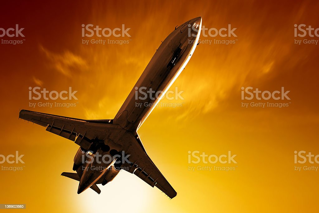 XL corporate jet airplane taking off royalty-free stock photo