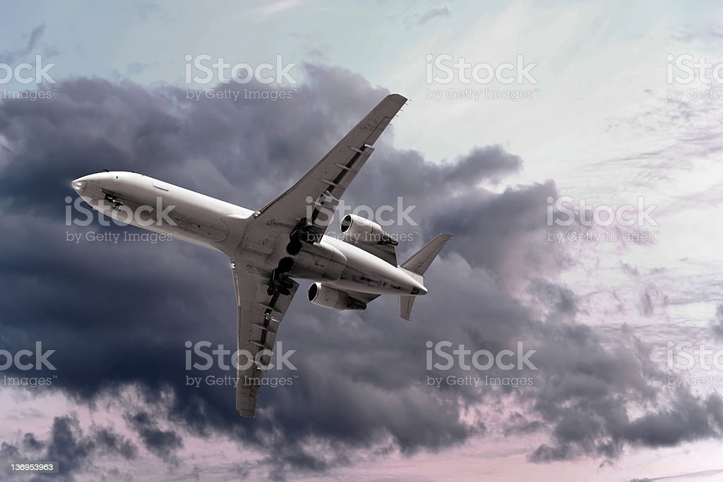 XXL corporate jet airplane taking off royalty-free stock photo