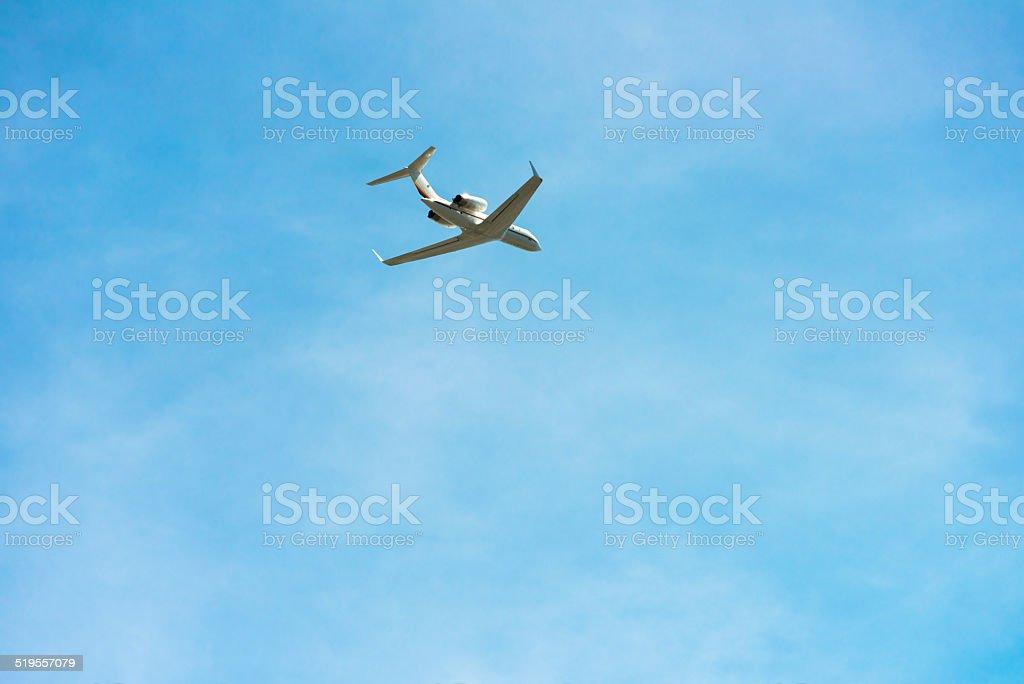 Corporate Jet Flying stock photo