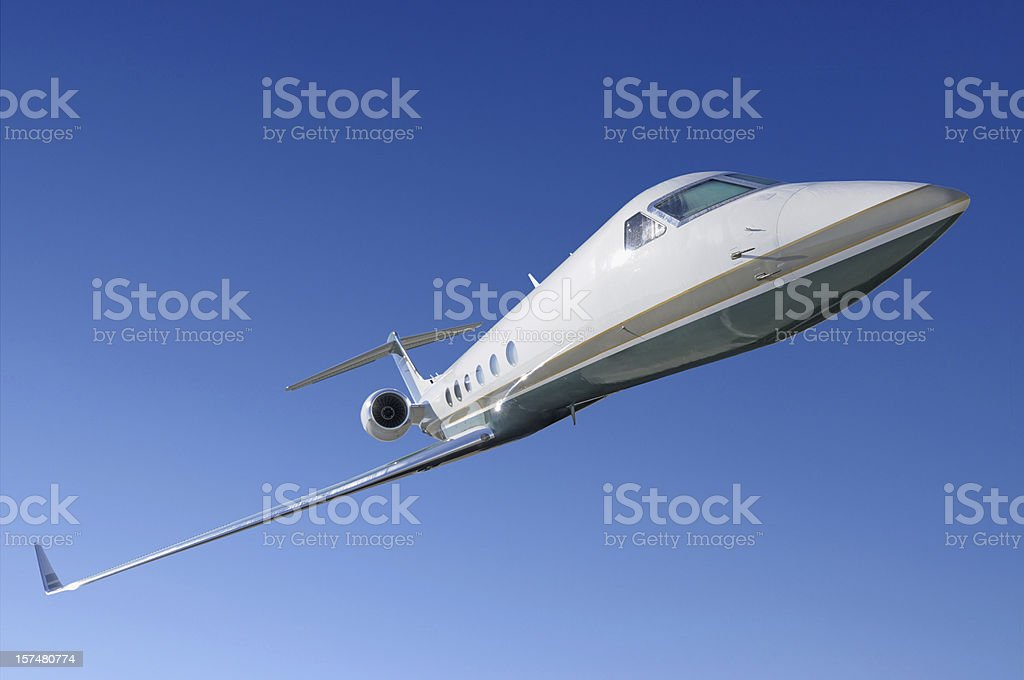 Corporate jet frontal view stock photo