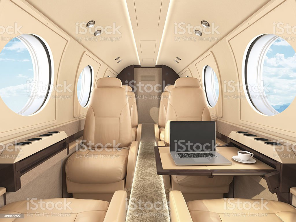 Corporate Jet Interior stock photo