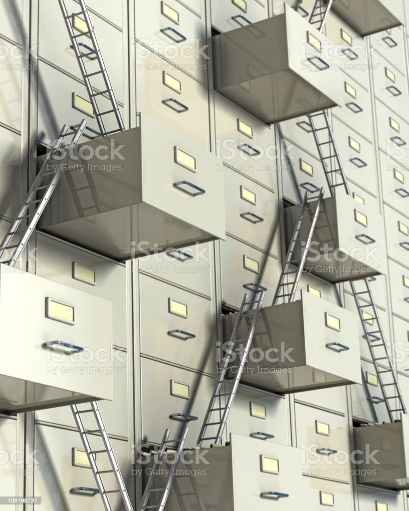 Corporate ladder concept showing wall of filing cabinets royalty-free stock photo