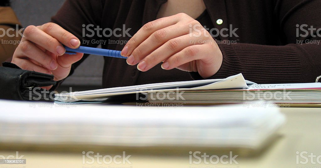 corporate meeting - idle hands stock photo