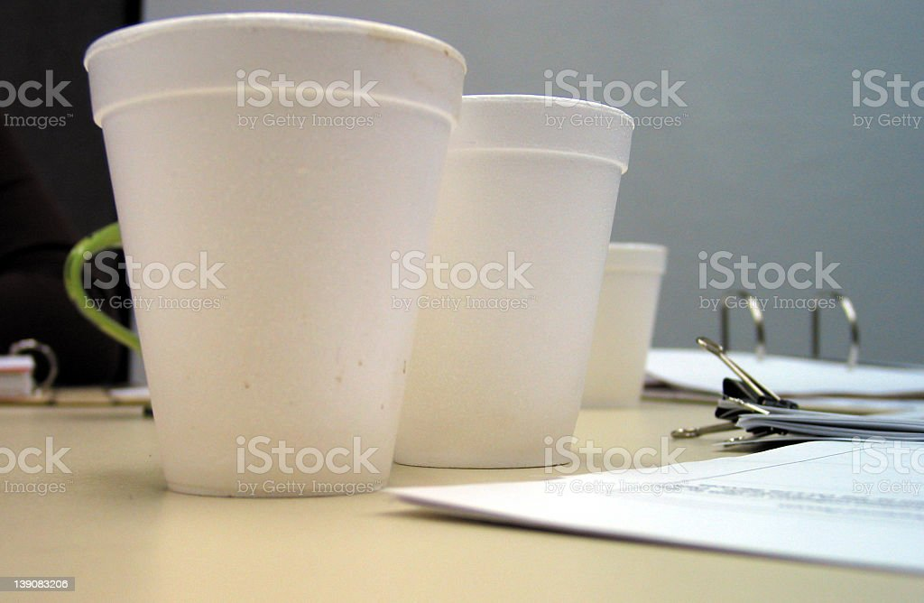 corporate meeting - polystrene cups stock photo