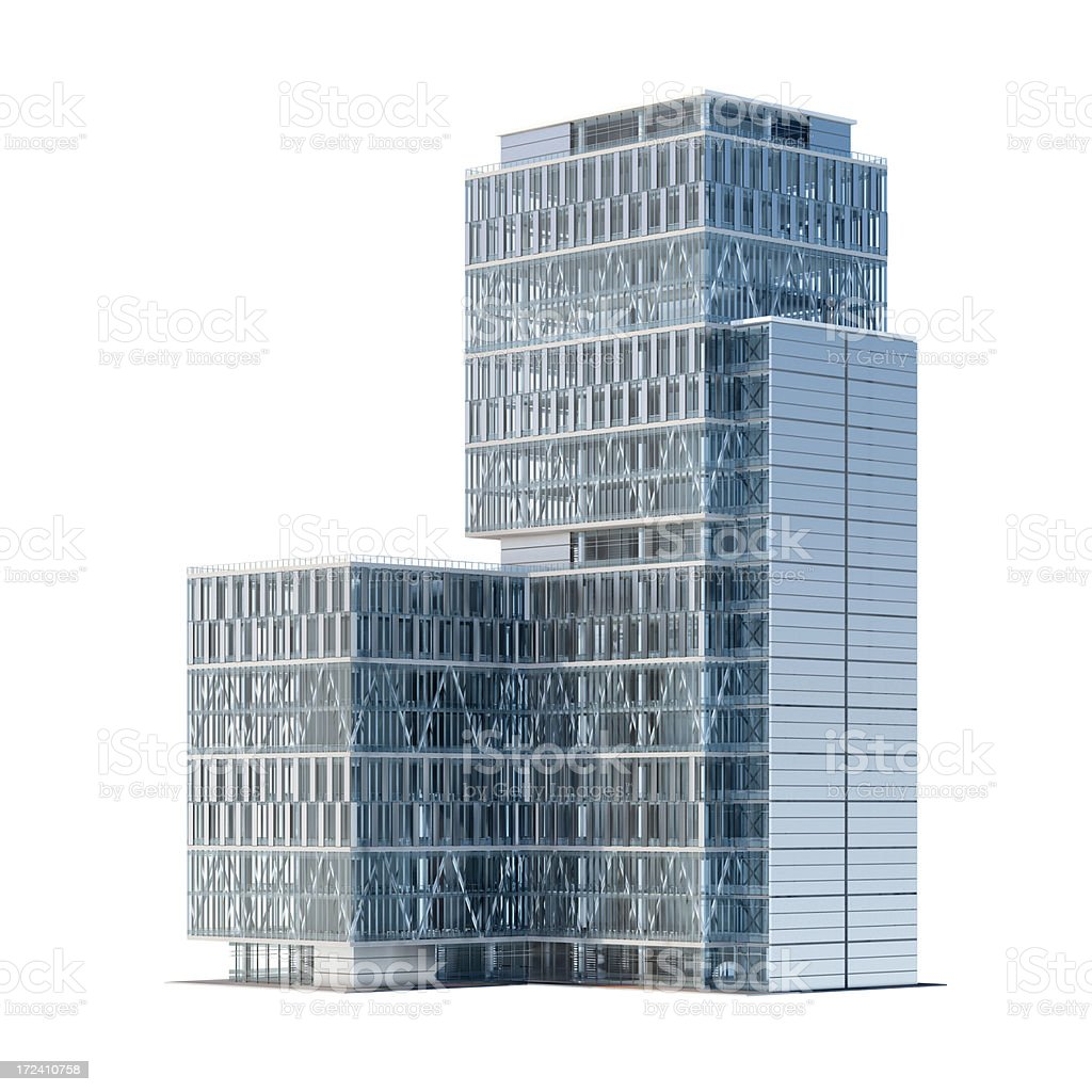 Corporate office building isolated on white royalty-free stock photo