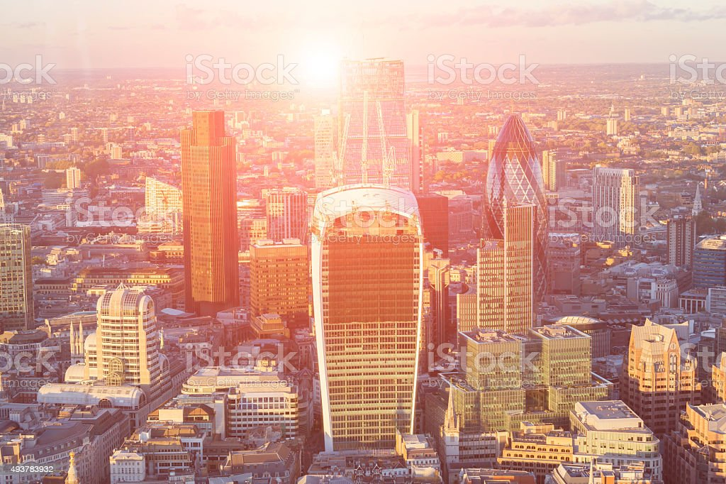 Corporate office buildings in the City of London stock photo