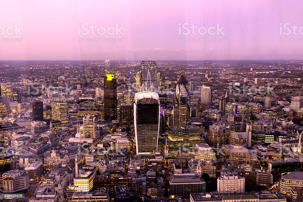Corporate office buildings of the City of London stock photo