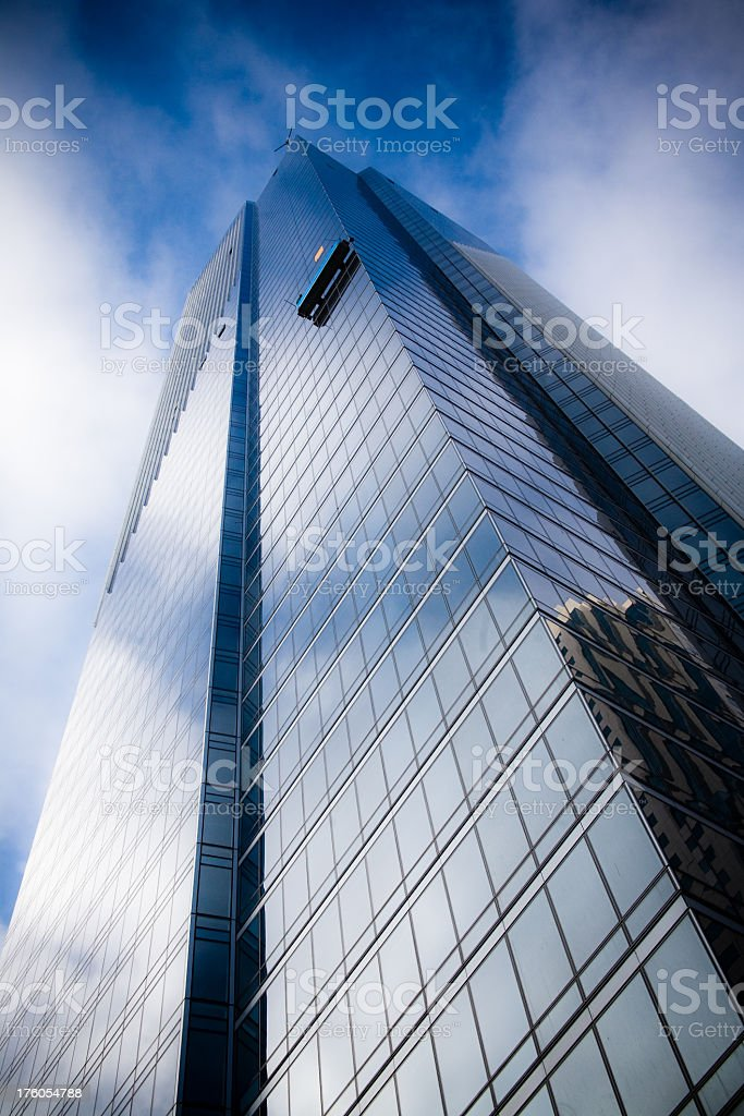 Corporate Office Tower with Window Washing Crew stock photo