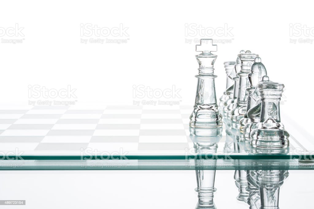 Corporate strategy Business Choice, transparent glass Chess group stock photo