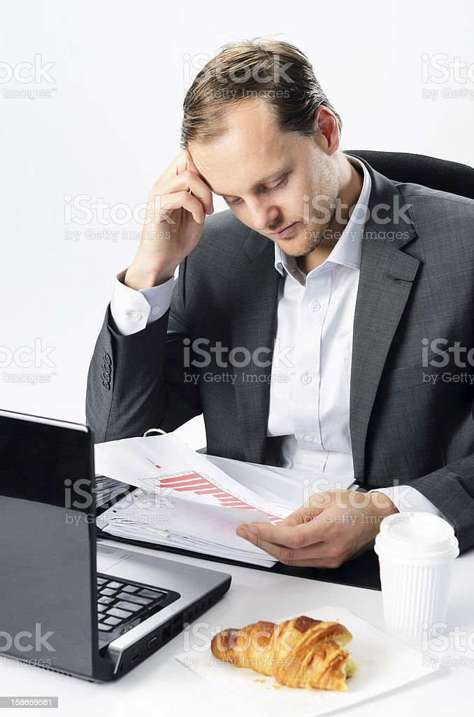 Corporate worker faces stress at work royalty-free stock photo