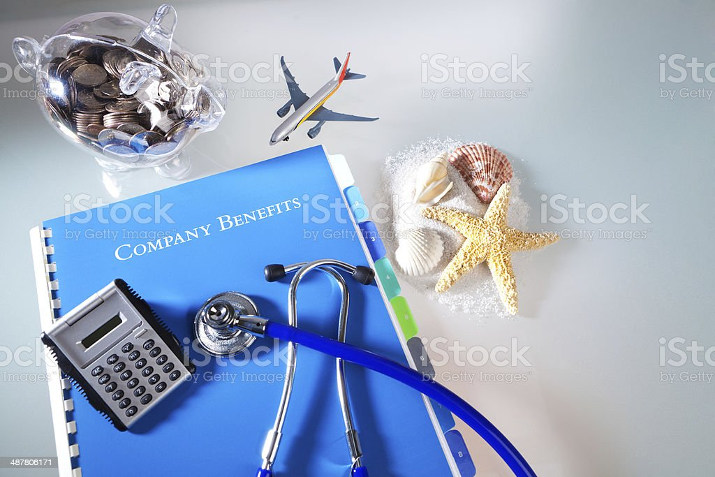 Corporation Employee Benefits Manual for Healthcare, Vacation, Retirement Savings stock photo