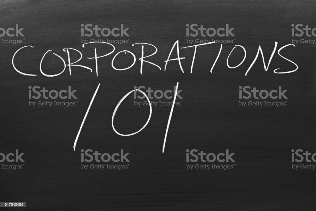 Corporations 101 On A Blackboard stock photo