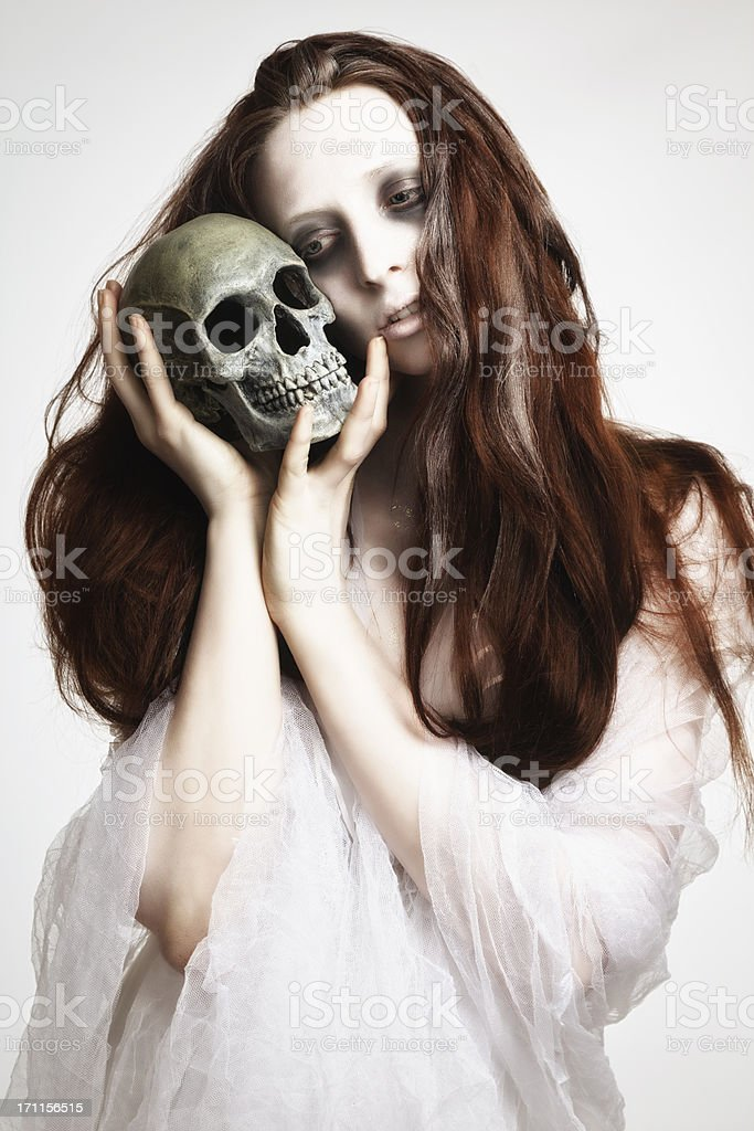 Corpse Bride With Skull royalty-free stock photo