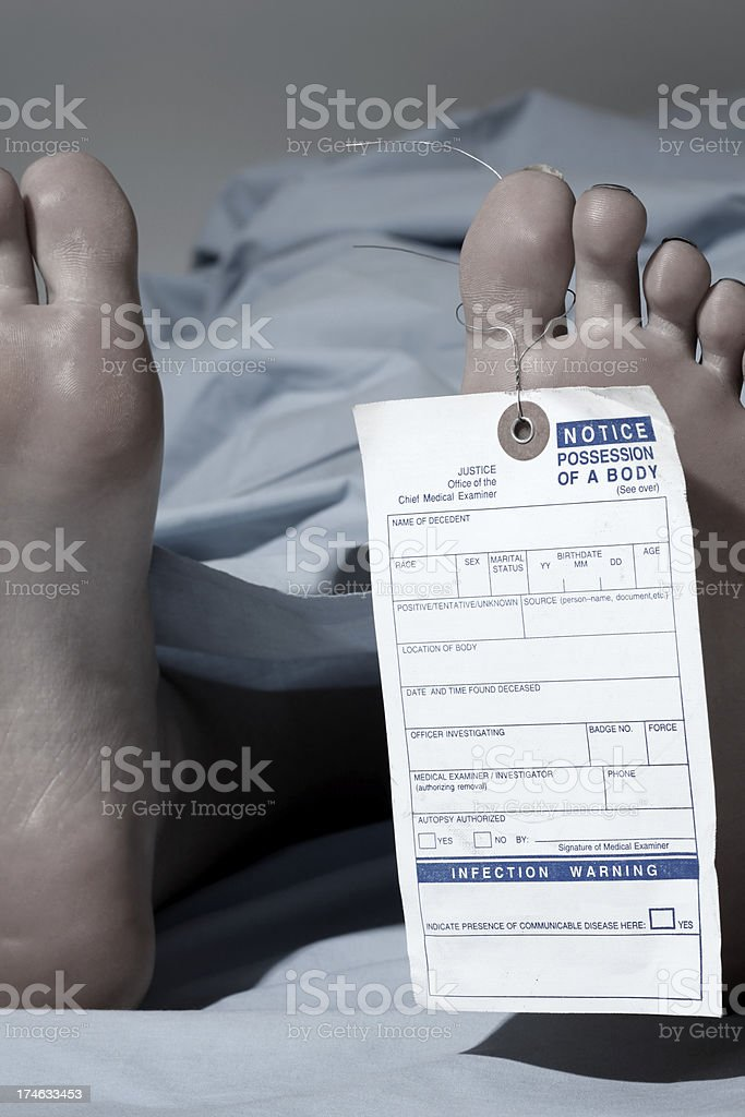 Corpse with toe tag stock photo