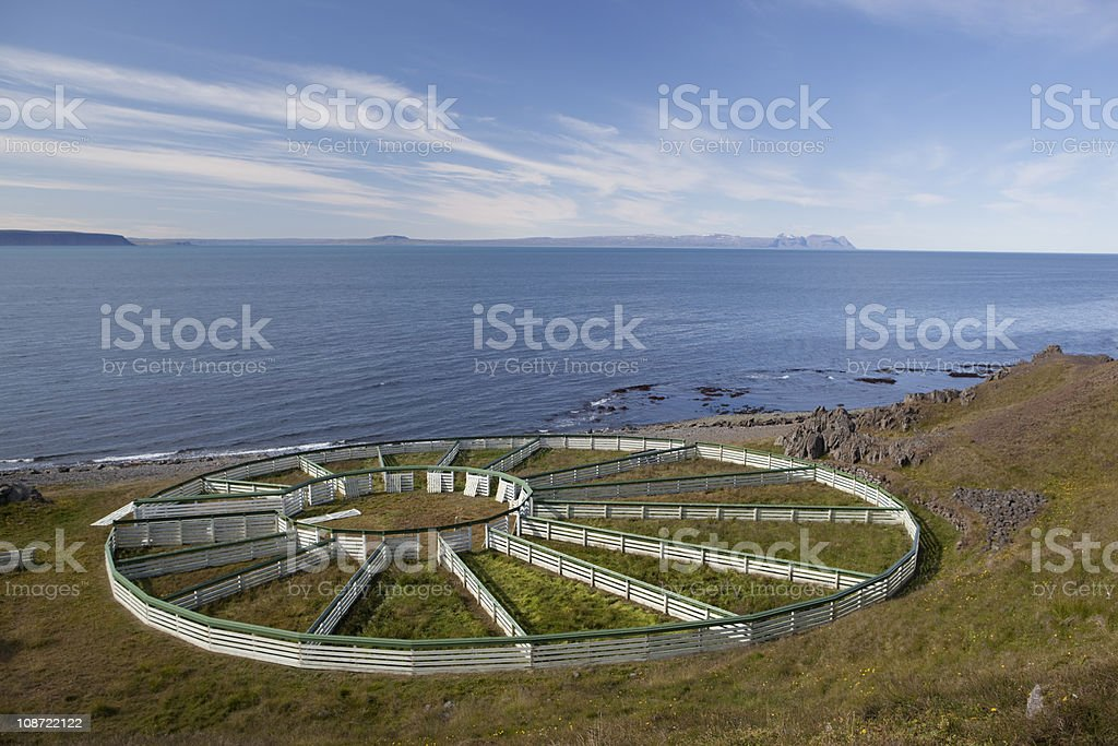 Corral for sheep and horse roundups. stock photo