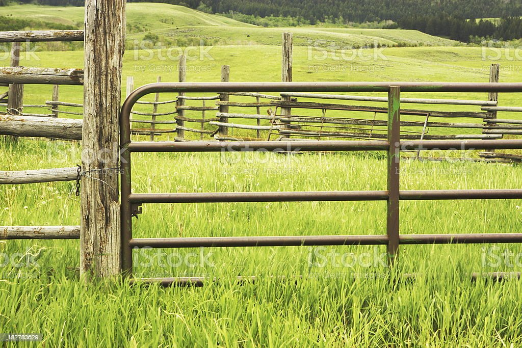 Corral Gate Farm Animal Pen stock photo