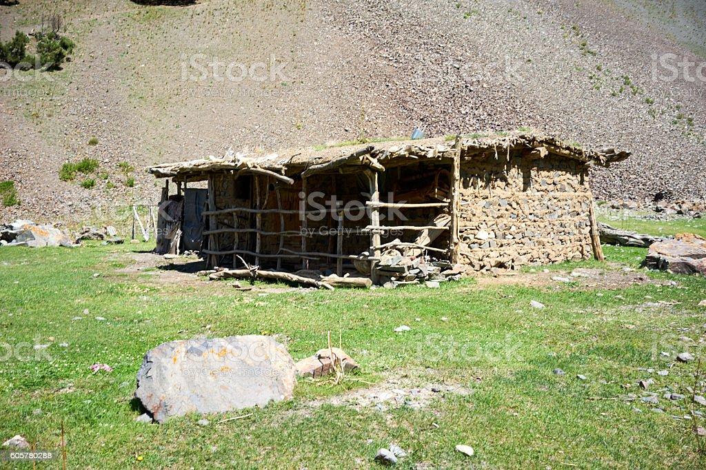 Corral in the mountainous regions of Kyrgyzstannear Kichik-Alai stock photo