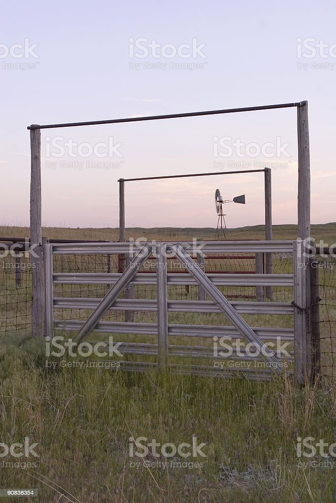 Corral With Windmill royalty-free stock photo
