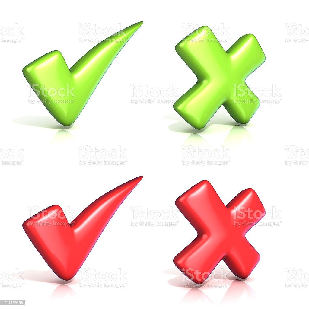 Correct and incoorrect check marks. 3D stock photo