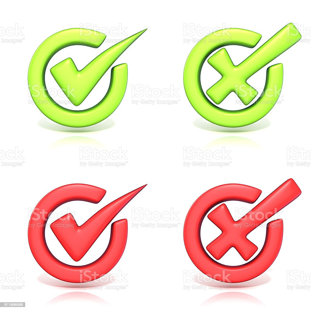 Correct and incorrect check marks in circle. 3D stock photo