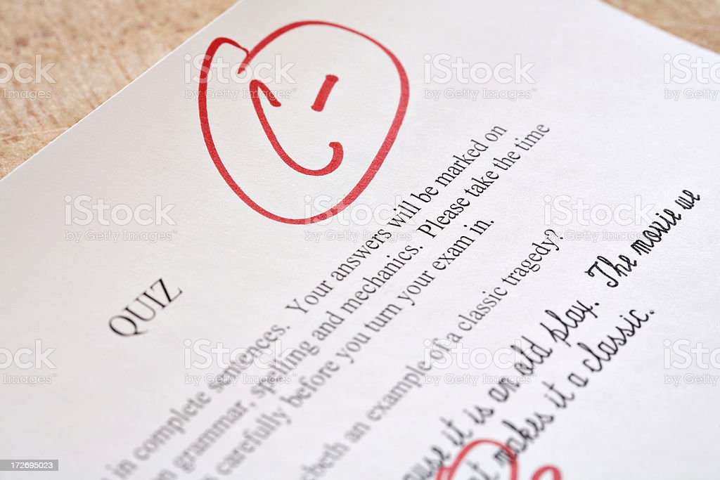 Corrected Exam Paper with C- royalty-free stock photo