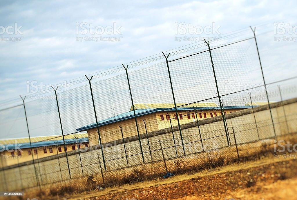 Correctional Facility outside the fence. stock photo