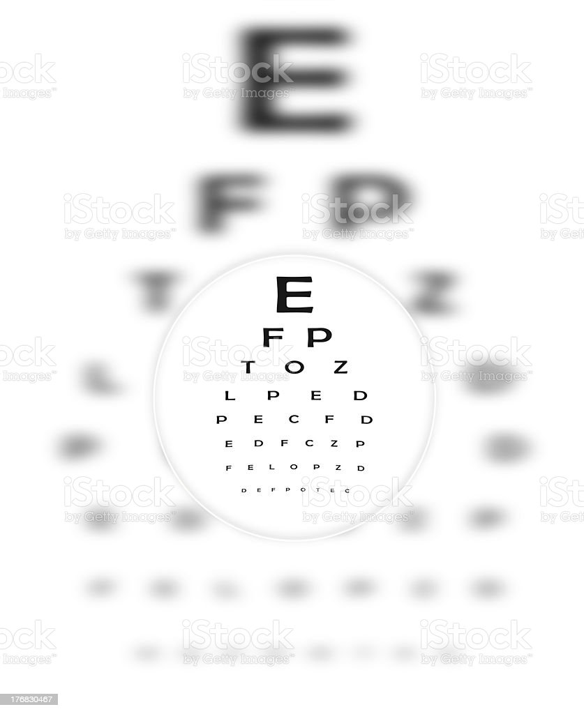 Corrective Contact Lense Focuses Eye Chart Letters Clearly stock photo