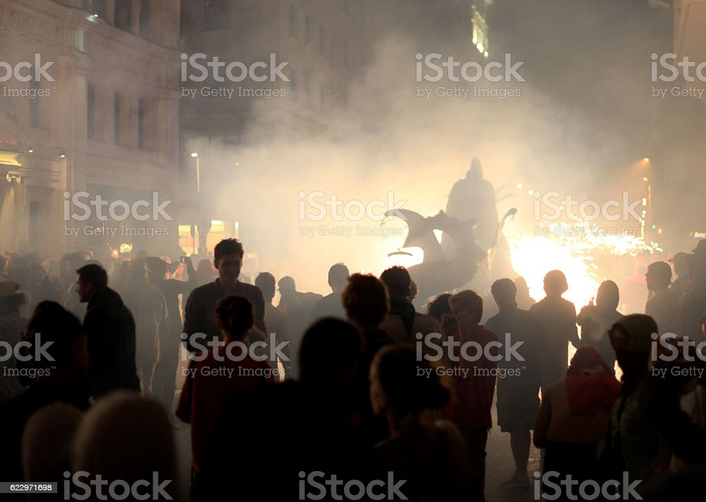 Correfoc - Spain traditional party in mediterranean area stock photo