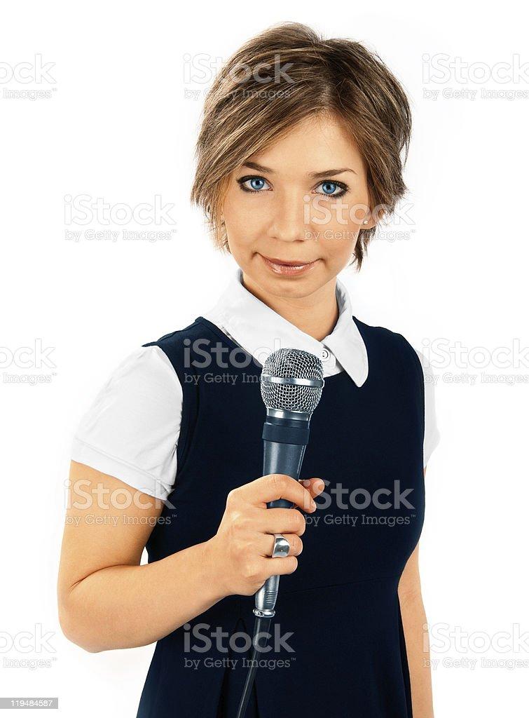 TV Correspondent on white background royalty-free stock photo