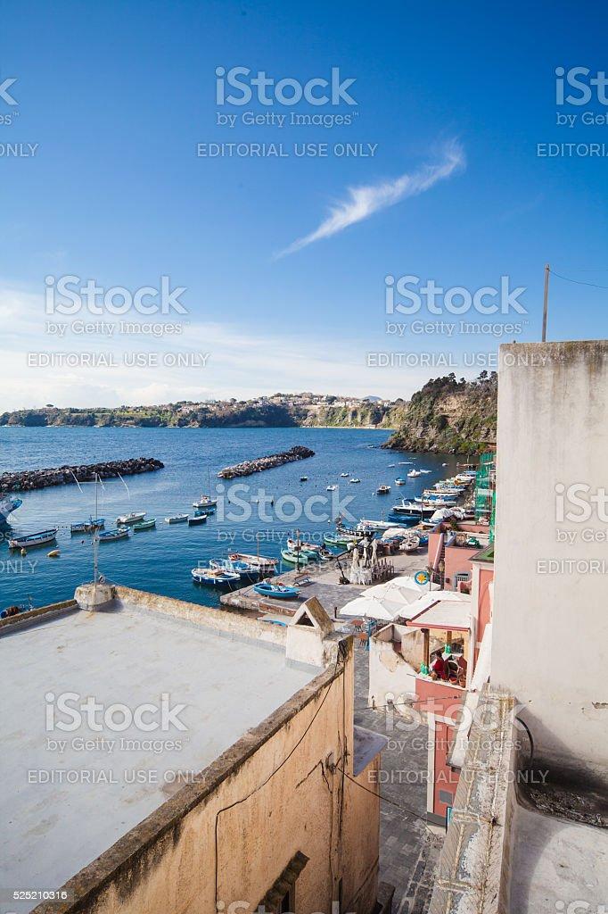 Corricella, view of Procida Fishermen Ancient Harbor stock photo