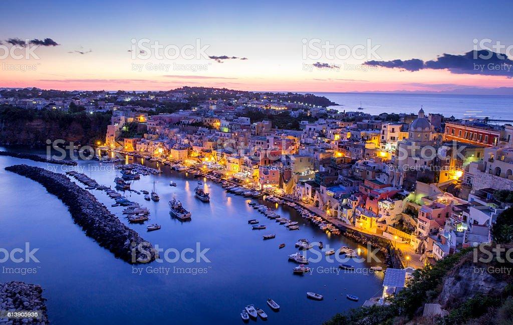 Corricella village on Procida island at night, Italy stock photo