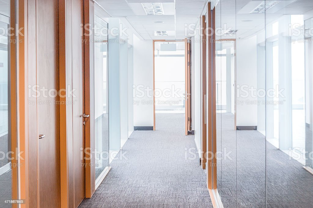 Corridor and Modern Glass Office stock photo