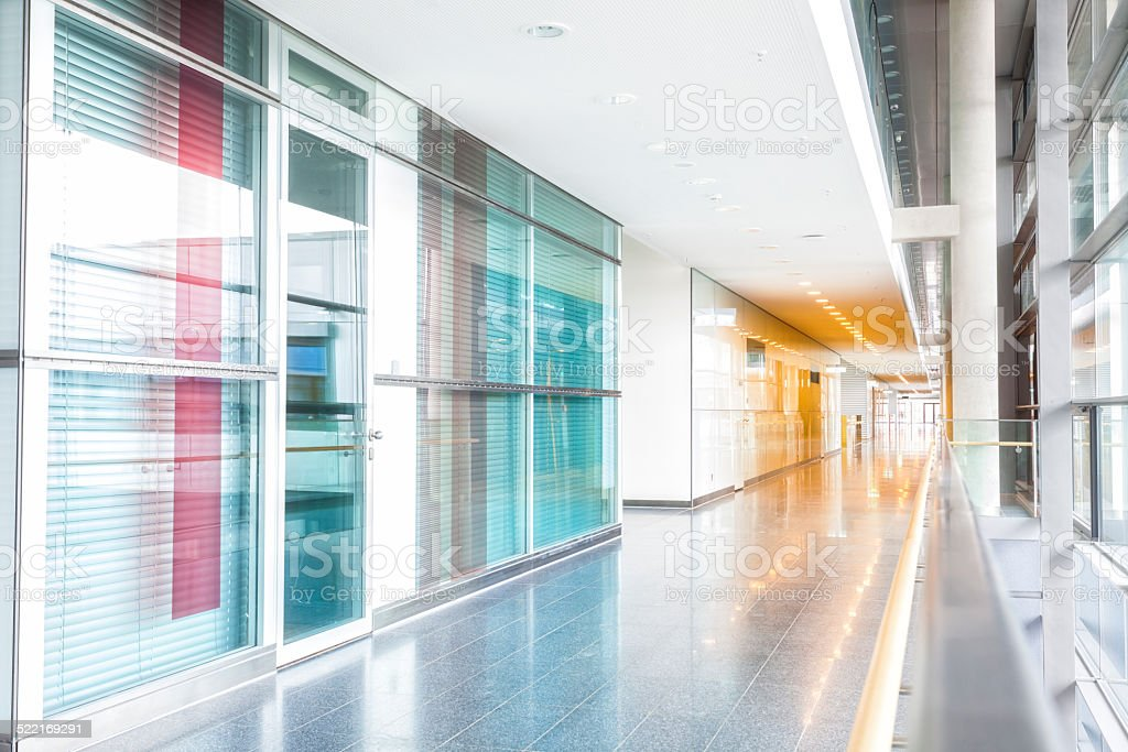 Corridor and Offices in Modern Building stock photo
