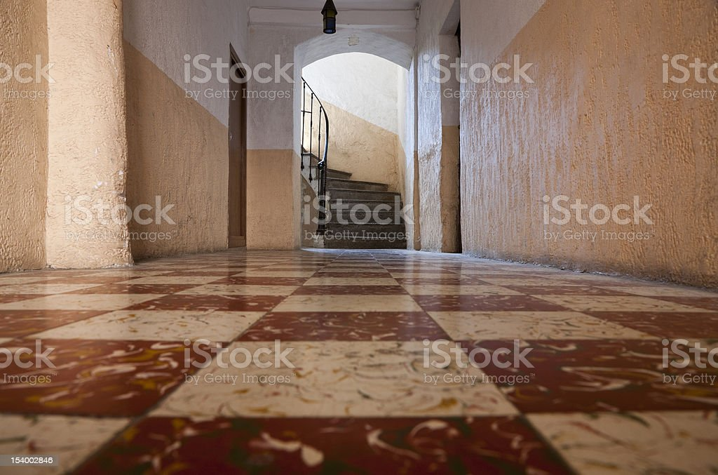 Corridor and Stairs in the OId French House royalty-free stock photo