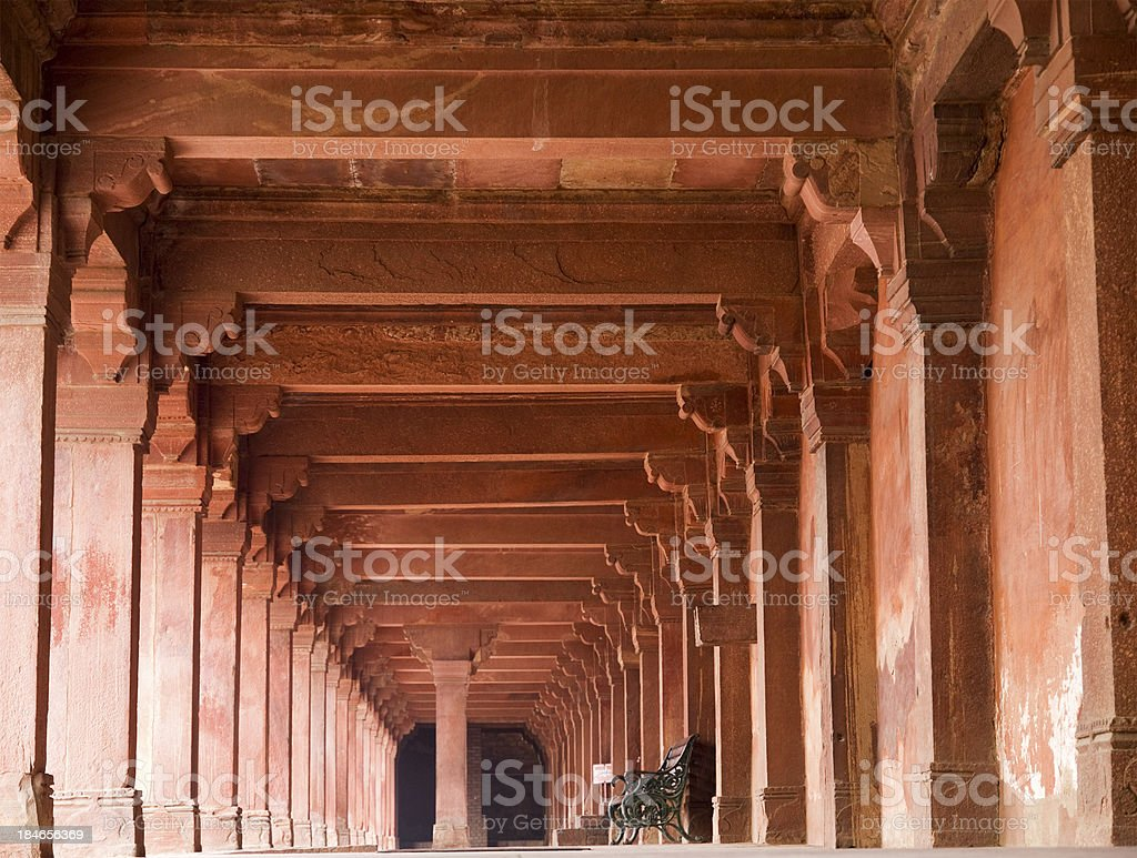 Corridor at Fatephur Sikri, near Agra, India stock photo