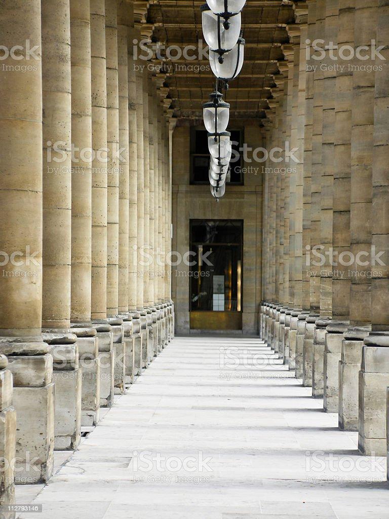 Corridor at the Palais-Royal in Paris stock photo