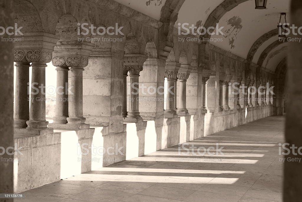 Corridor in Buda Castle, Budapest, Hungary royalty-free stock photo