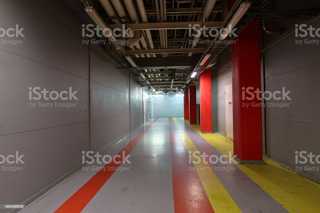 Corridor in industrial area stock photo