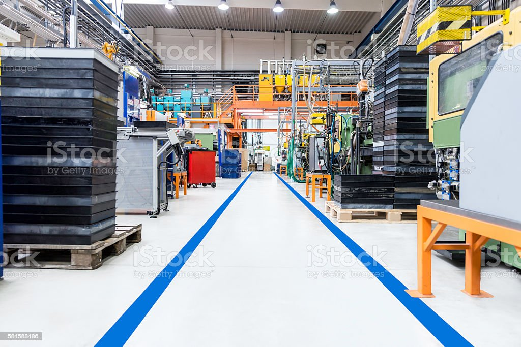 Corridor in industrial modern factory stock photo