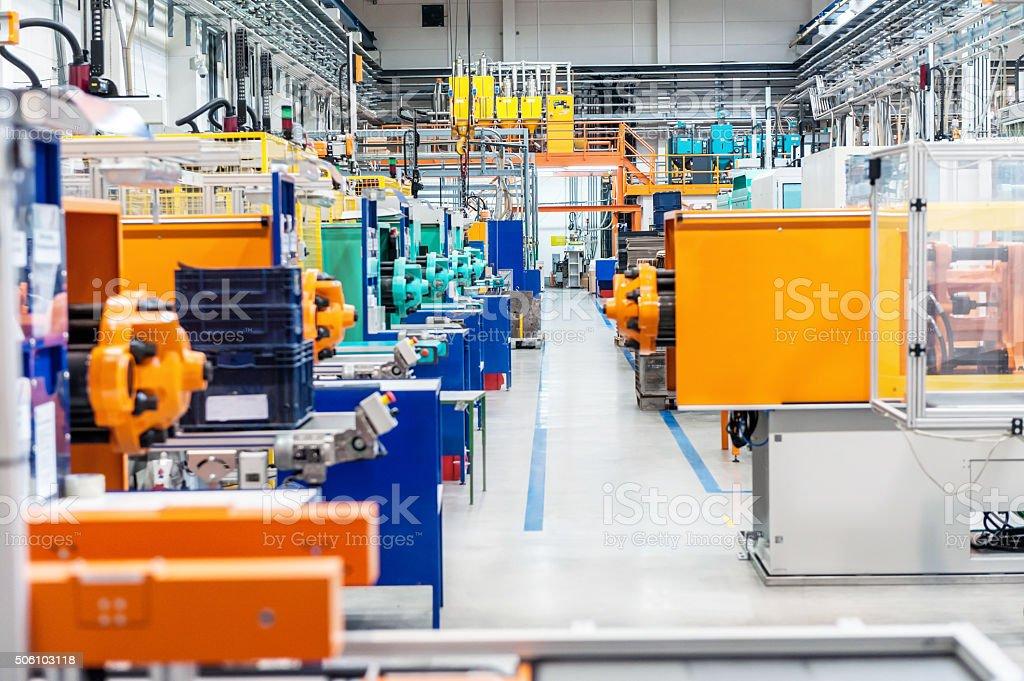 Corridor in production line stock photo