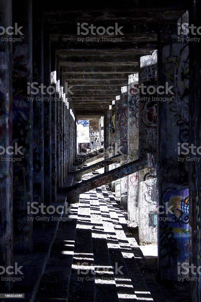 Corridor in Ruined Building stock photo