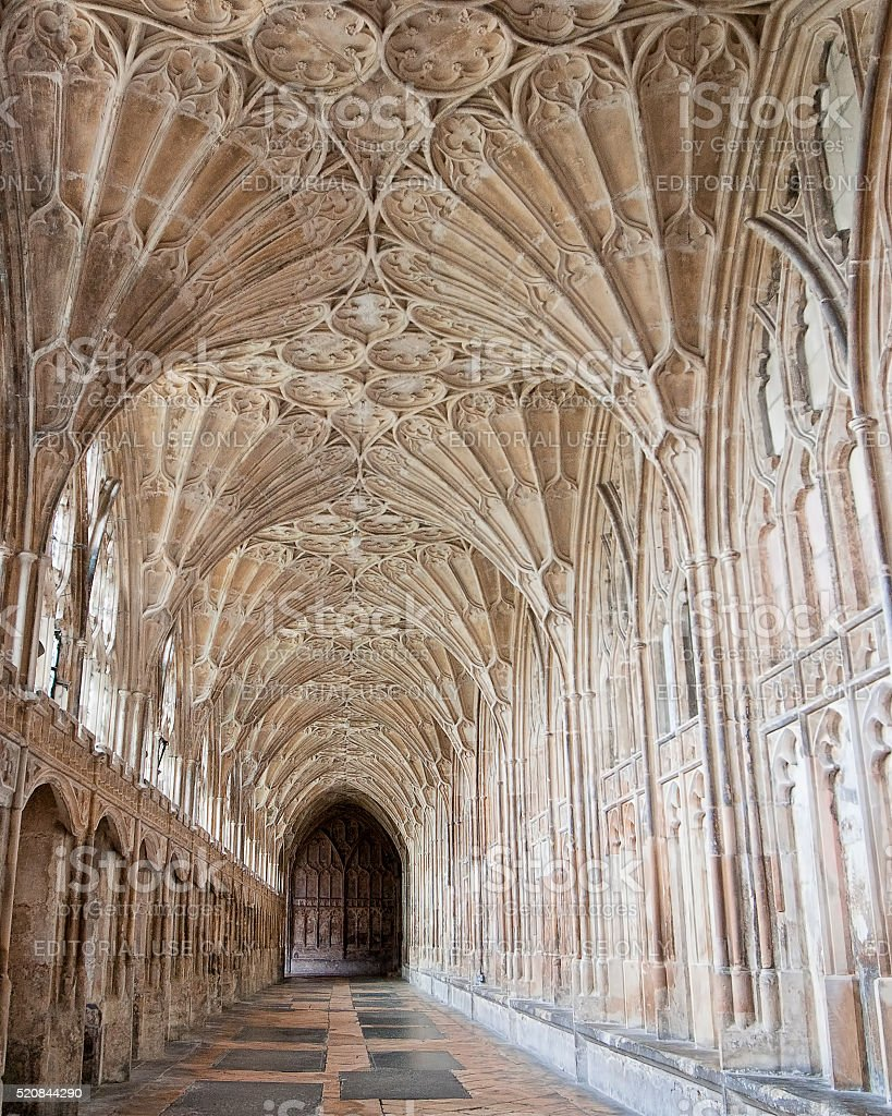 Corridor in the Cloister of Gloucester Cathedral stock photo