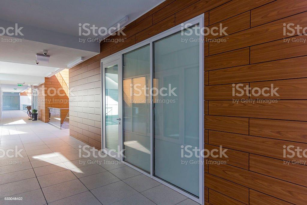 Corridor in the modern apartment building stock photo
