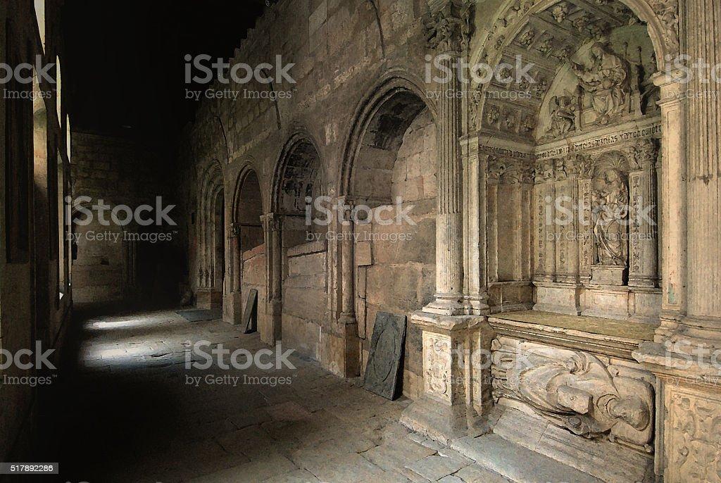 Corridor in the monastery of Salamanca, Spain stock photo