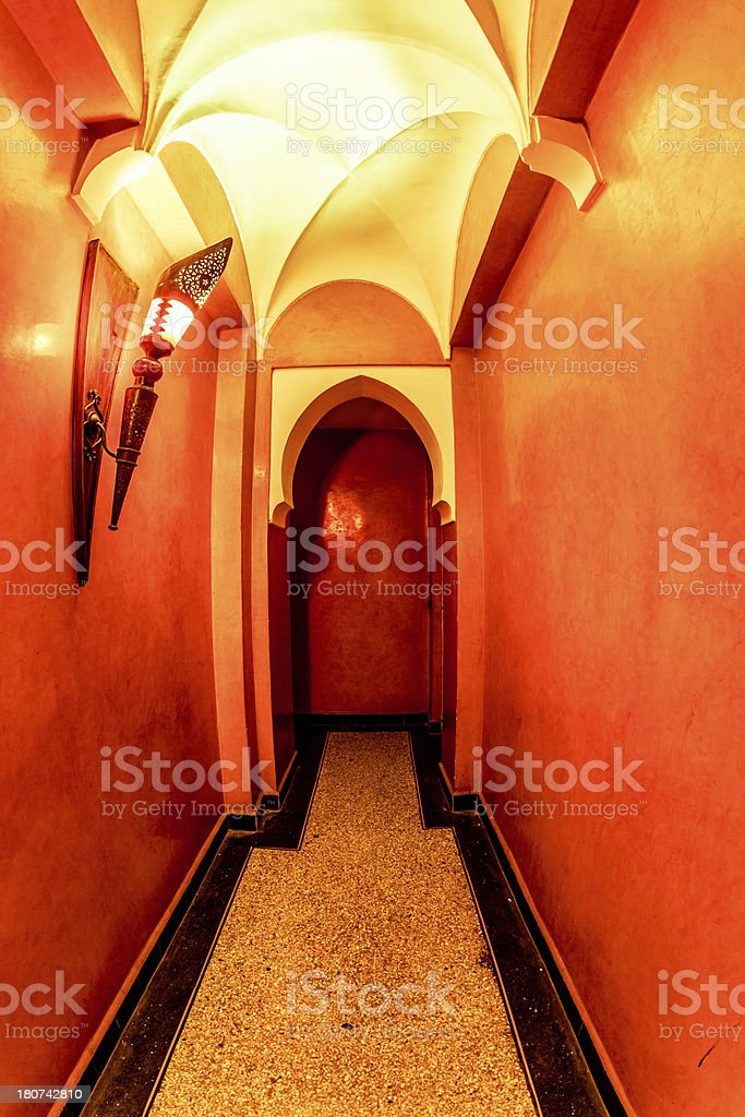 Corridor in Traditional Arabic Hotel royalty-free stock photo
