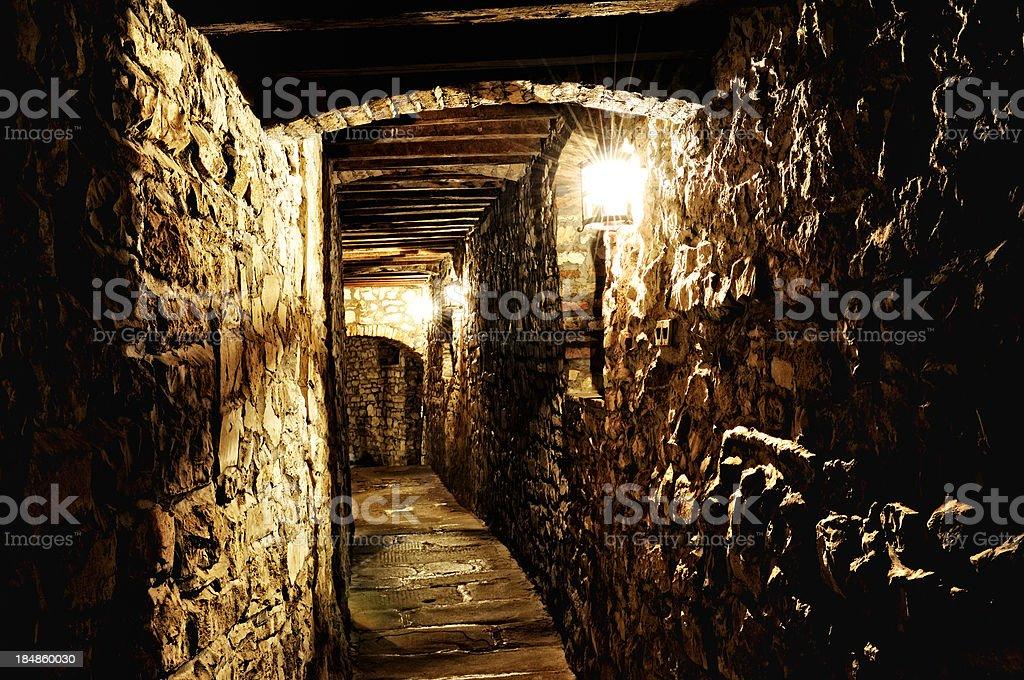 Corridor inside Ancient Tuscany Castle stock photo