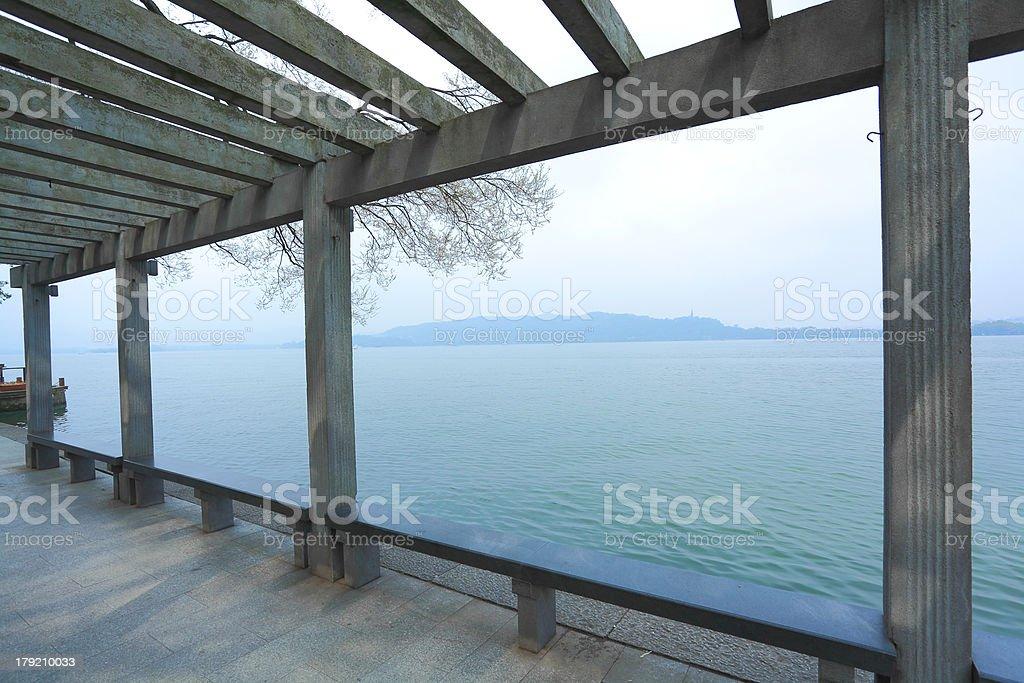 Corridor next to West Lake in Hangzhou royalty-free stock photo