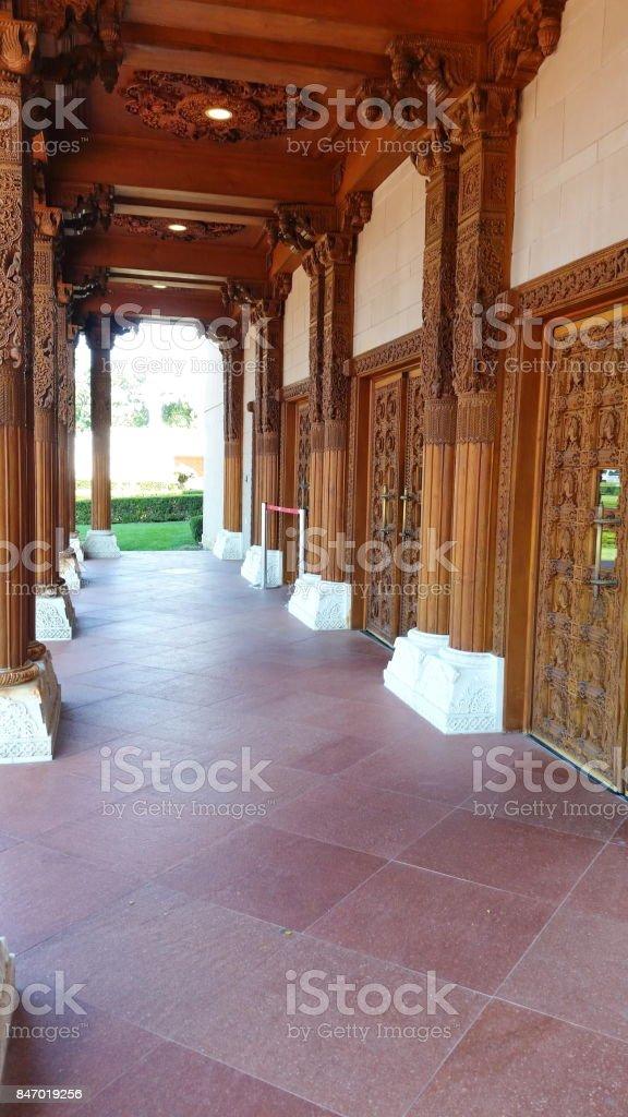 A corridor of BAPS Swaminarayan Temple stock photo