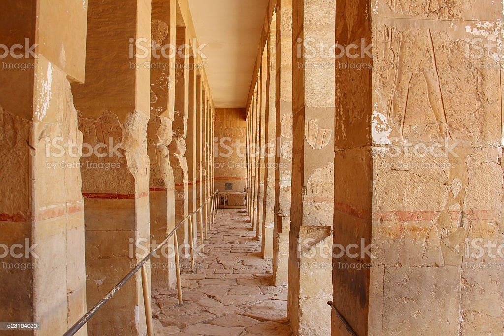 Corridor of columns in  the ancient temple of love stock photo