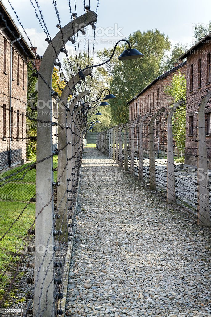 Corridor of electrified barbed-wire fences in Auschwitz stock photo
